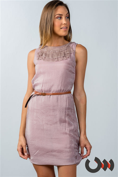 Emma Pink Chiffon Casual Belted Mini Dress Siin Bees