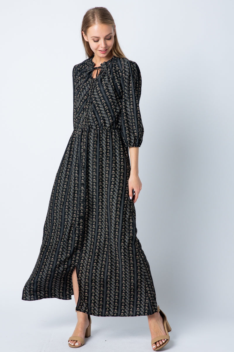 Carmen 3/4 Sleeve Chiffon Maxi Dress With Mock Neck Tie Siin Bees
