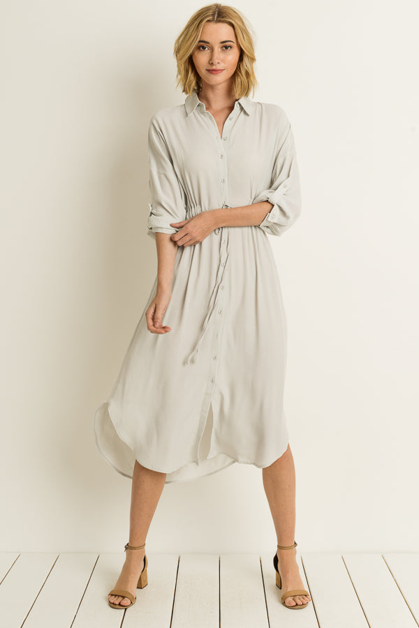 Sofia Midi Dress With Button Down Siin Bees