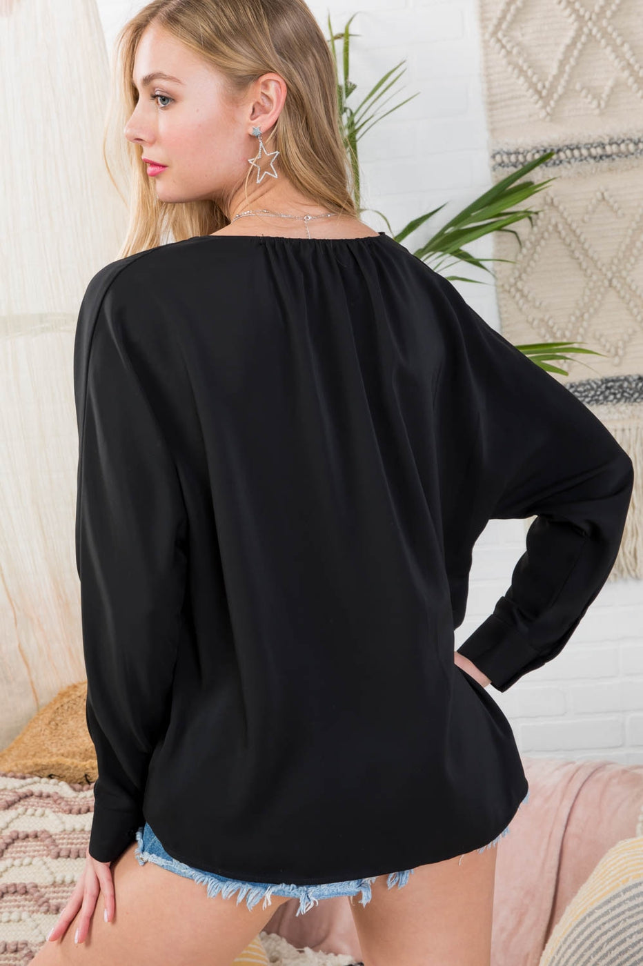 Black Top With V-Neck Front Overlap with Front Button Siin Bees