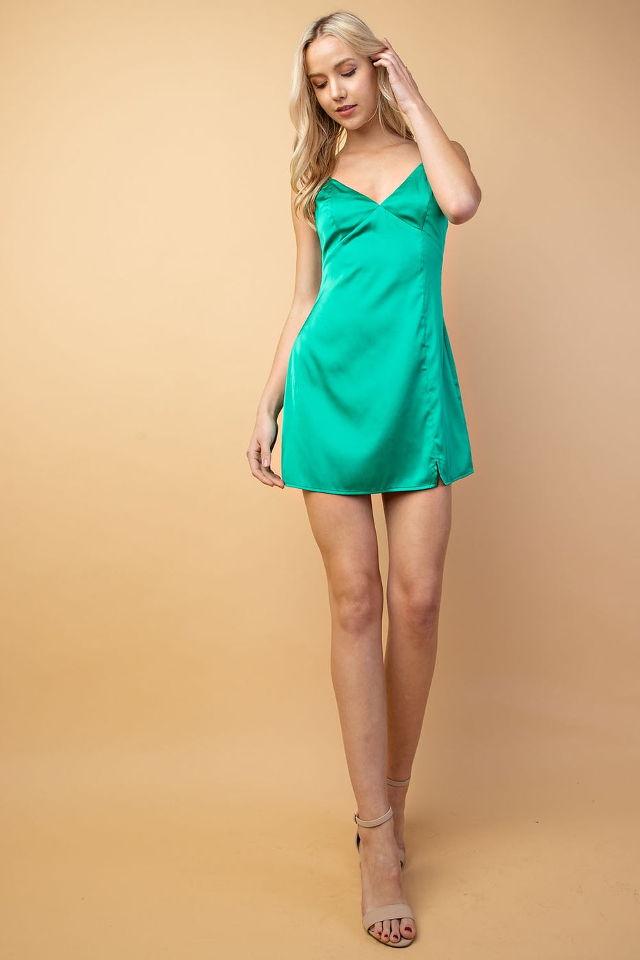 Aurora Satin Cami Dress With Hem Slit In Green Siin Bees