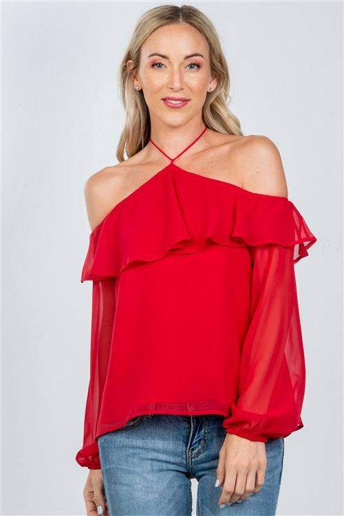 Red Halter Cold Shoulder Blouse Siin Bees