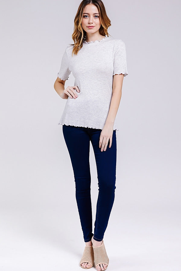 Charming Mock Neck Top With Merrow Hem In Grey Siin Bees