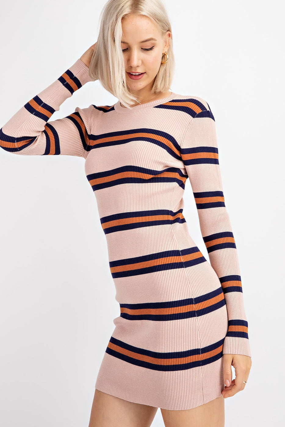 Long Sleeve Sweater Dress With Midriff Cutout In Blush-Brown Stripe Siin Bees