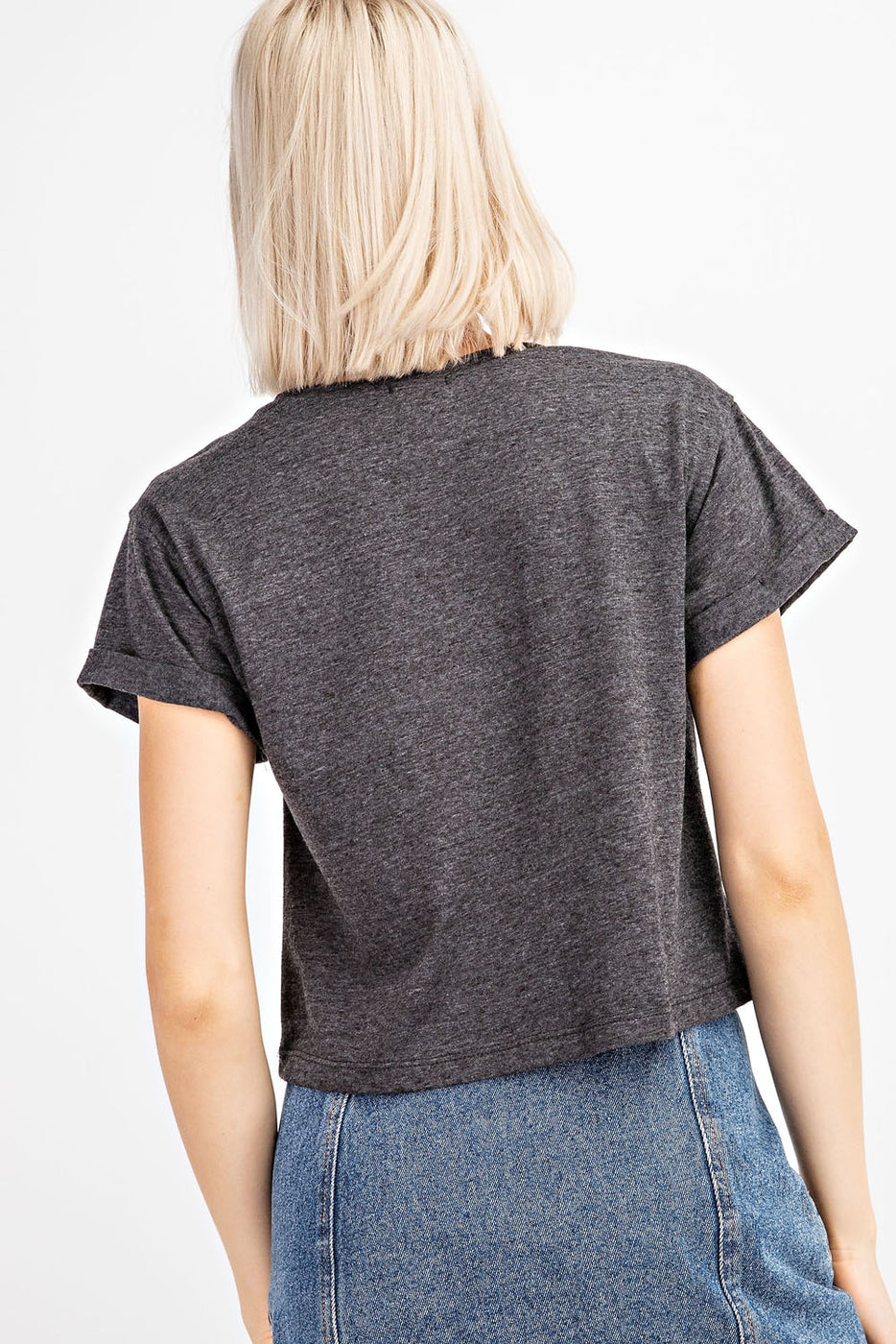 "Vibin N` Thrivin"" Print Top In Charcoal Siin Bees"