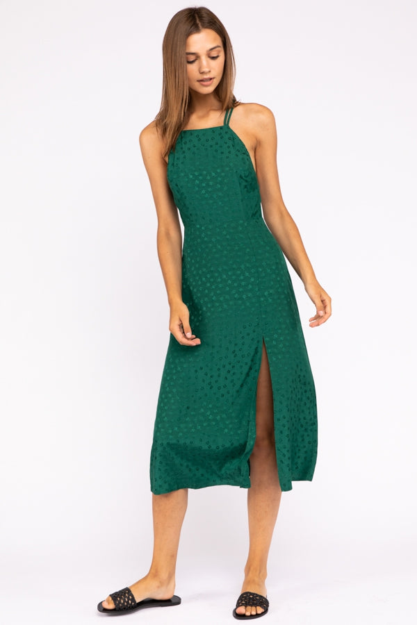 Halter Back Midi Dress In Green Siin Bees