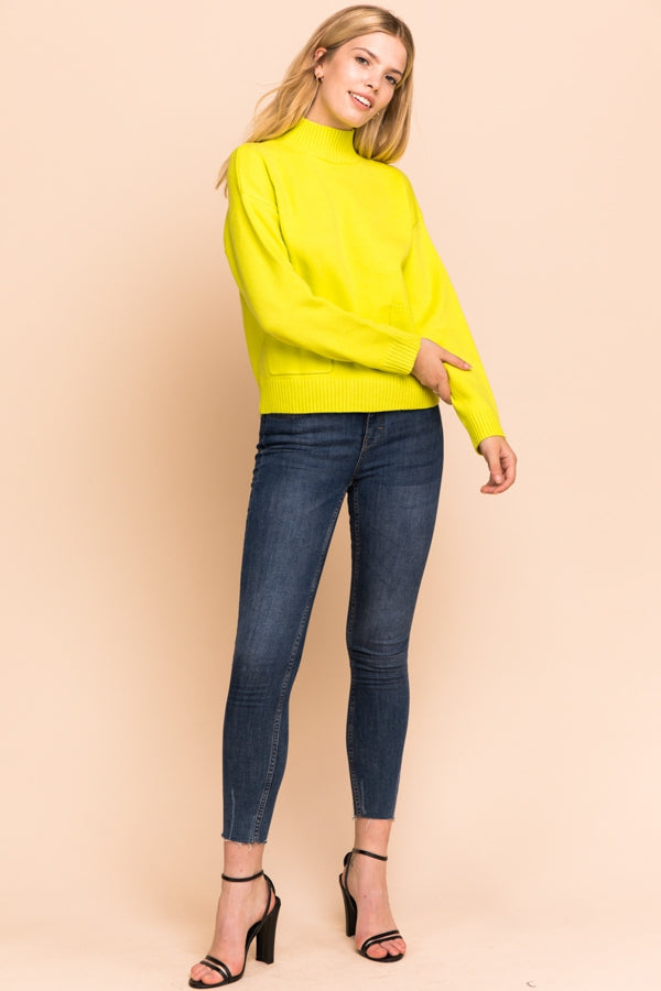 Long Sleeve Sweater Knit Top In Neon Yellow Siin Bees