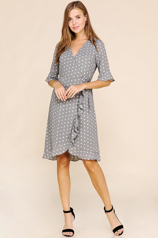 Angie Wrap Dress Polka Dot With Ruffle Detail In Grey Siin Bees
