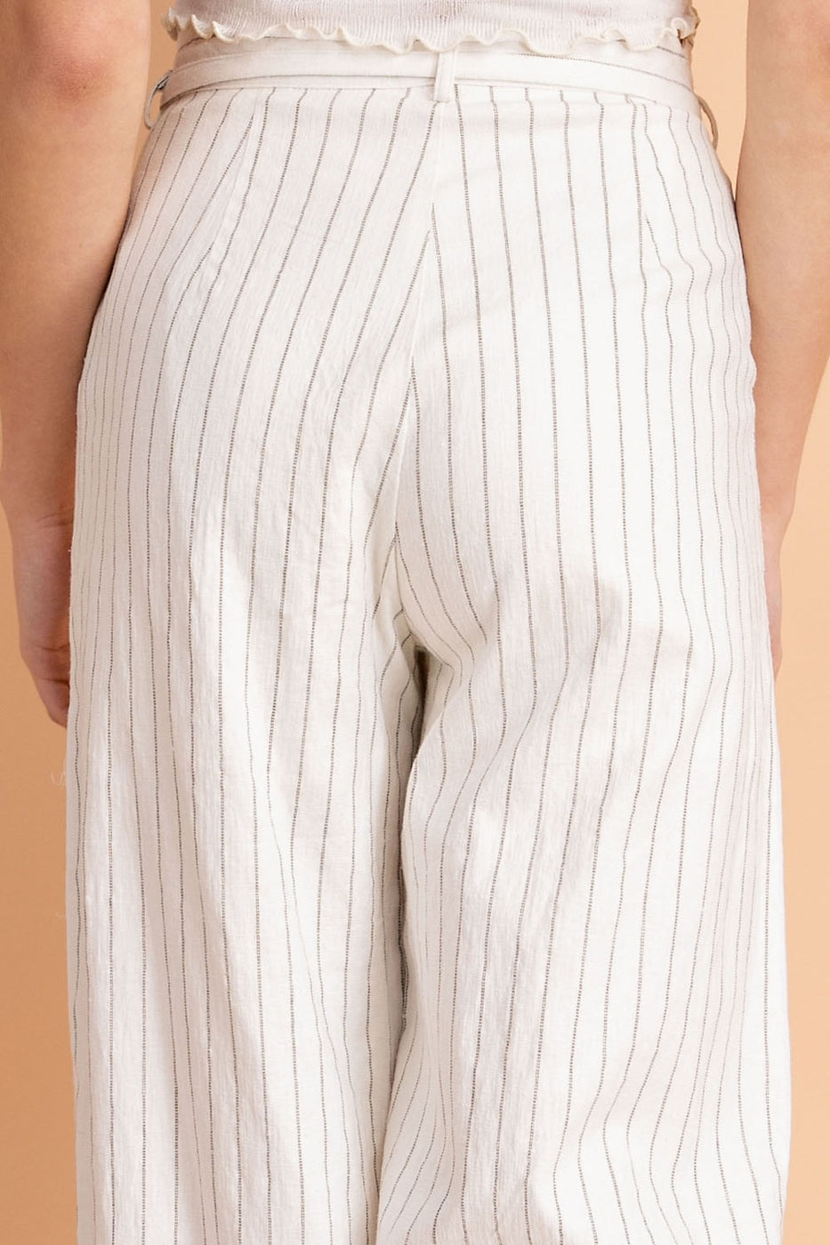 High Waisted Scallop Trim Stripe Pants With Waist Tie In White Siin Bees