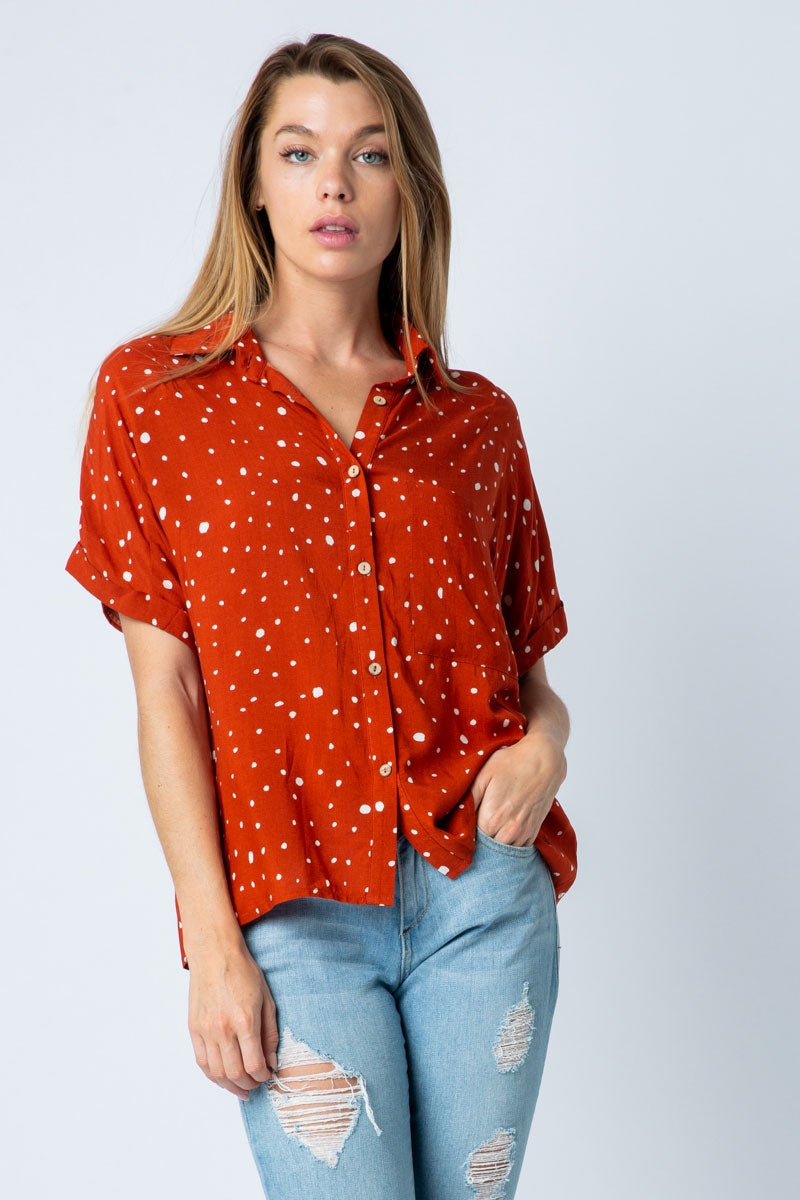 Spring Short Sleeve Top With Collared Button Up Siin Bees