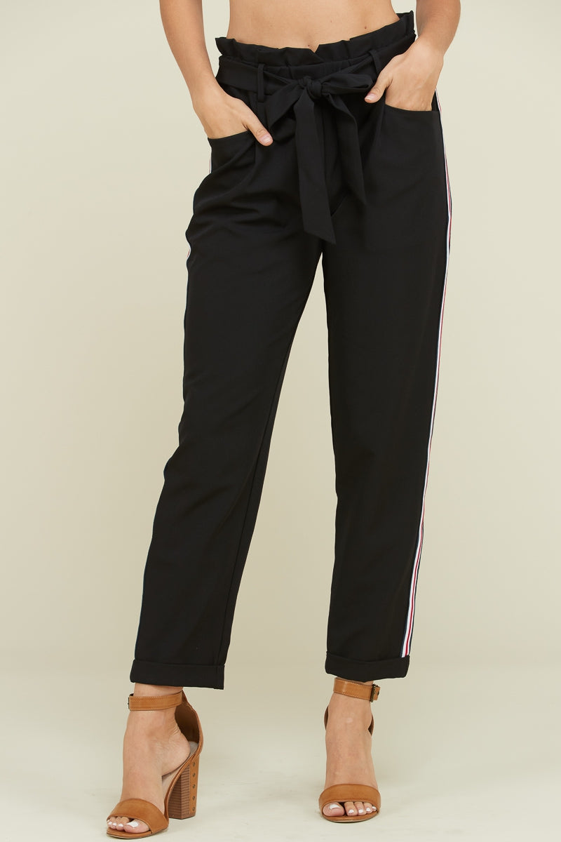 Black Pants With Tie Waist Side Tape Detail Siin Bees