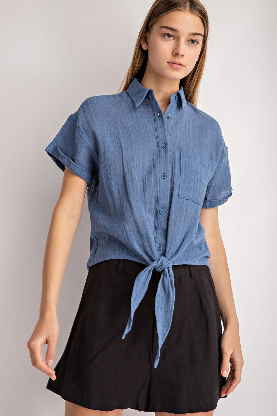 Button up Front Tie Top Siin Bees