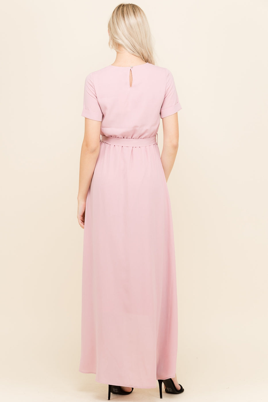 Mia Short Sleeve Wrap Dress Side With Waist Tie In Mauve Siin Bees