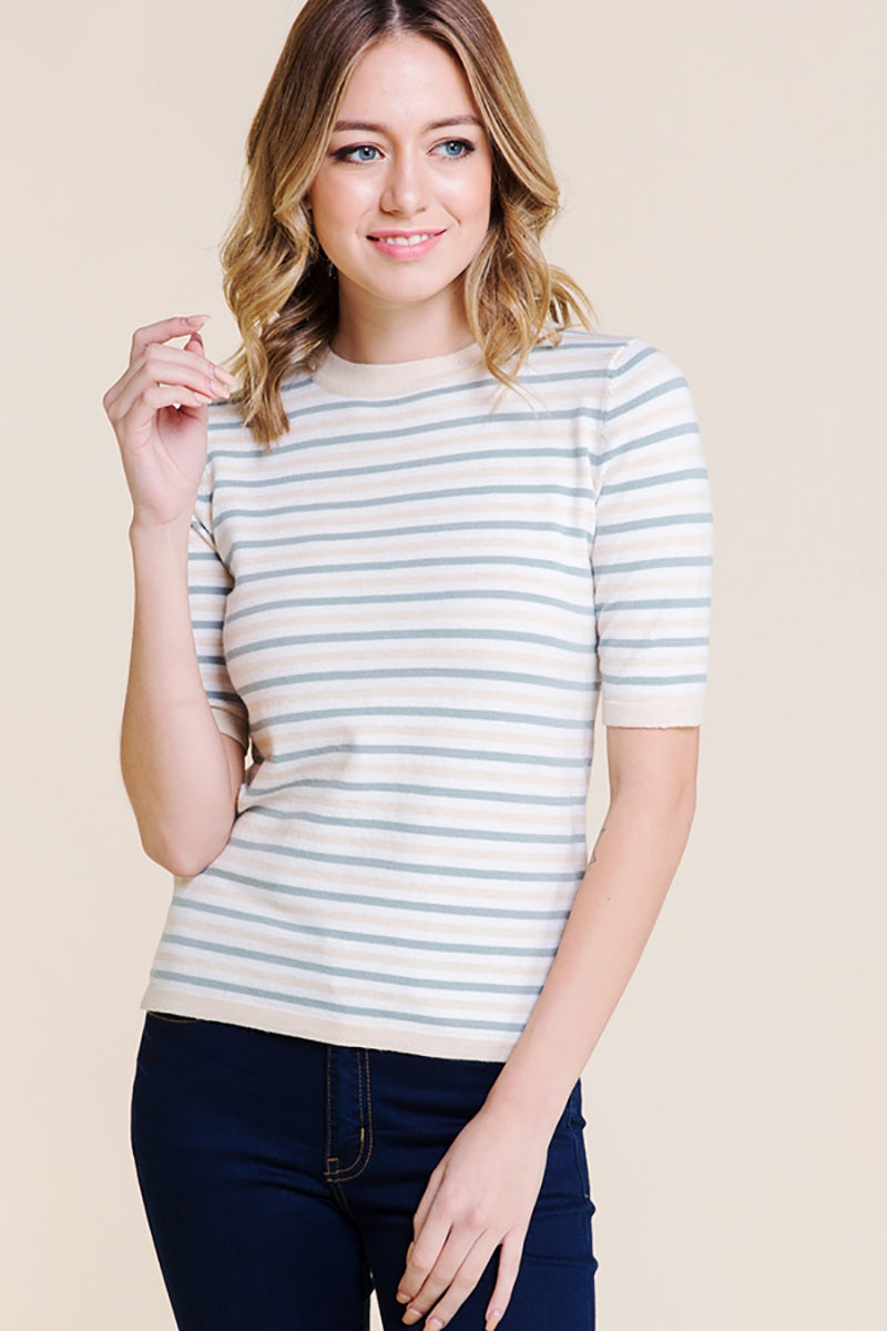 Fun Striped Multi Color Sweater Knit Top In Blue Siin Bees