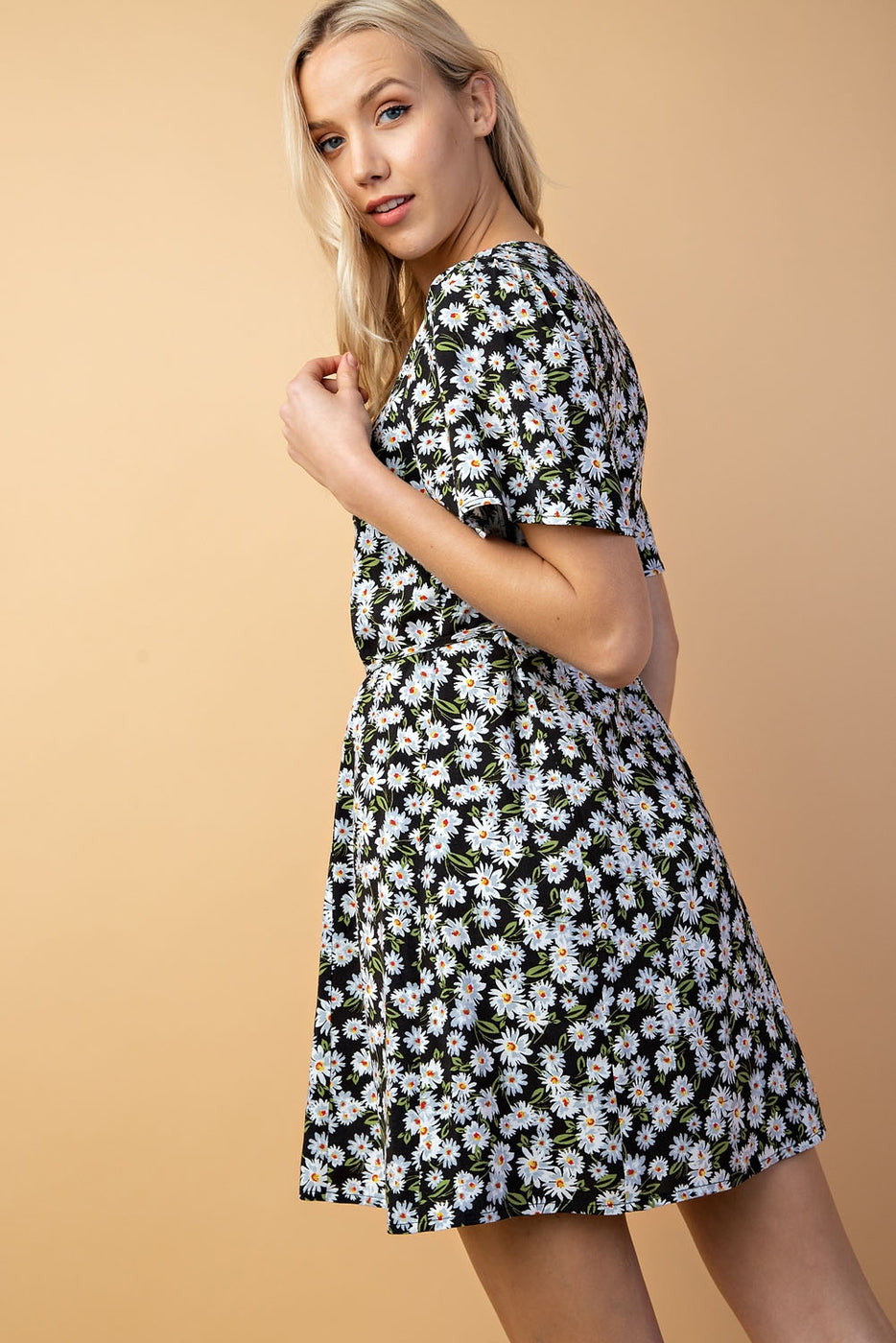 Floral Print Button Front Dress In Black-Floral Siin Bees