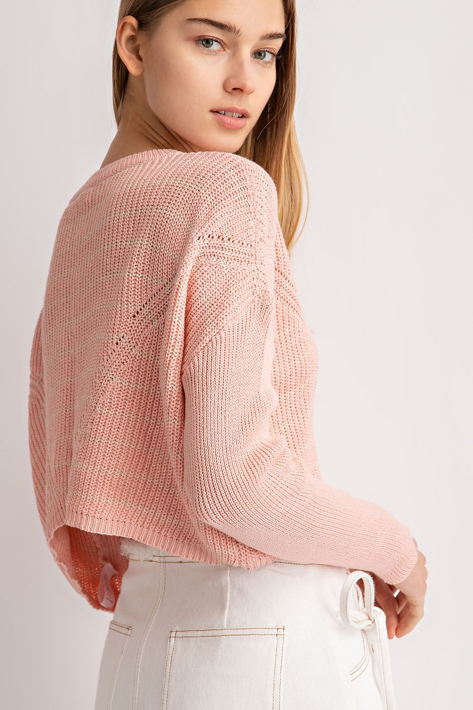 Long Sleeve Striped Sweater In Peach Siin Bees