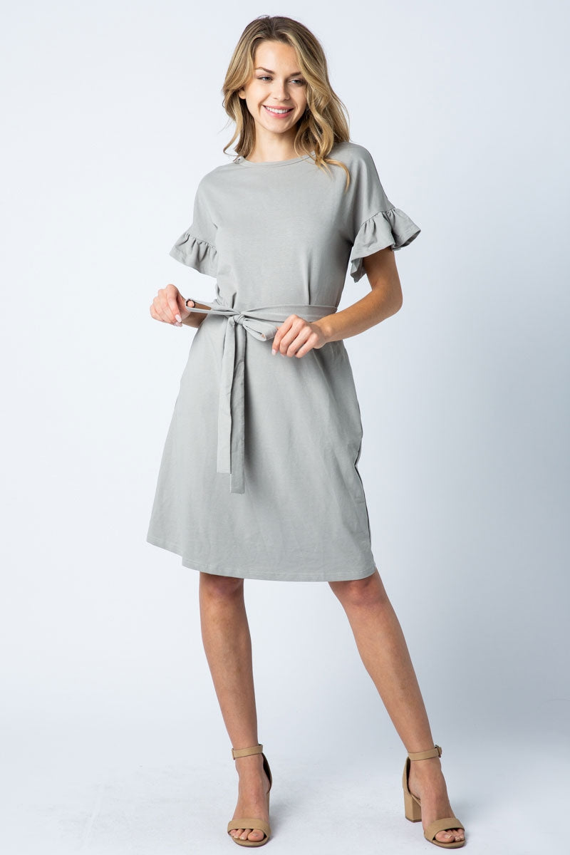 Charlotte Grey Midi Dress With Ruffle Sleeve Detail Siin Bees