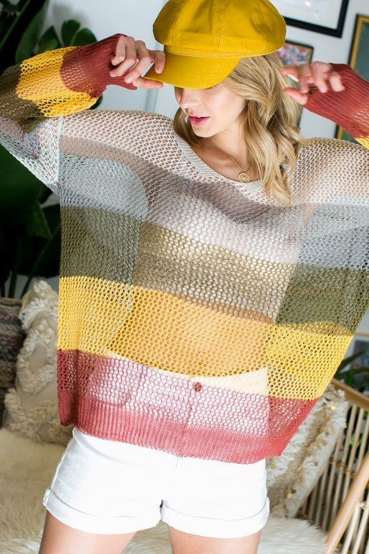 Multi color stripe long sleeve knit sweater Siin Bees