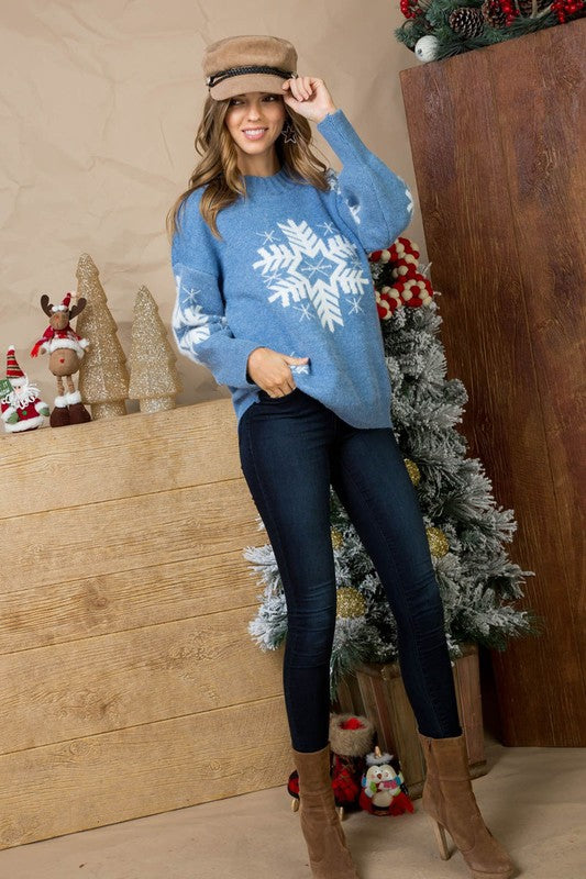 Denim Snow Print Round Neck Cozy Sweater Top Siin Bees