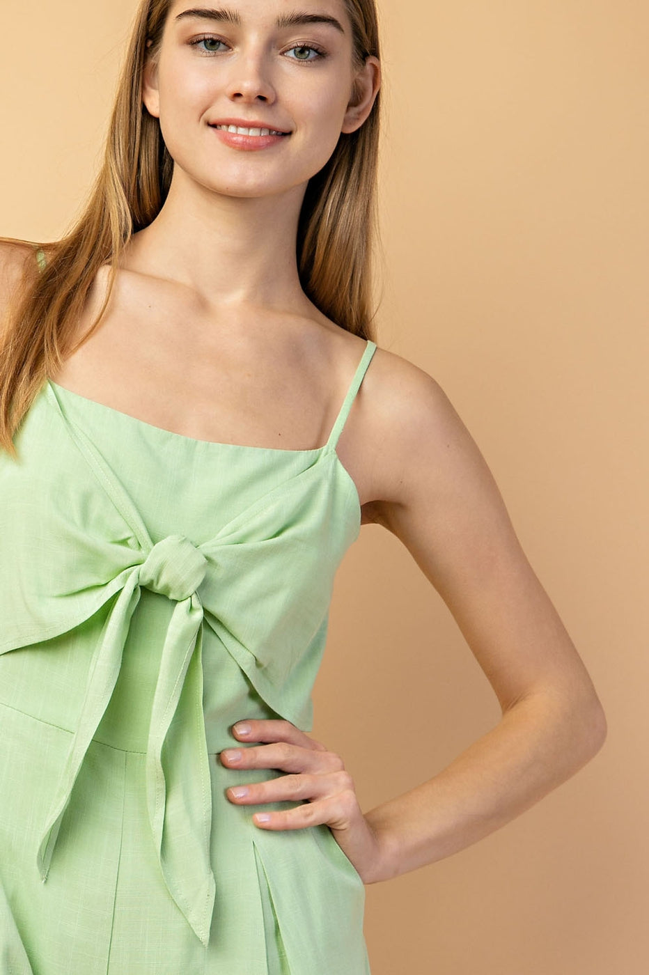 Tie Front Pleated Romper With Side Pocket In Light Green - Siin Bees