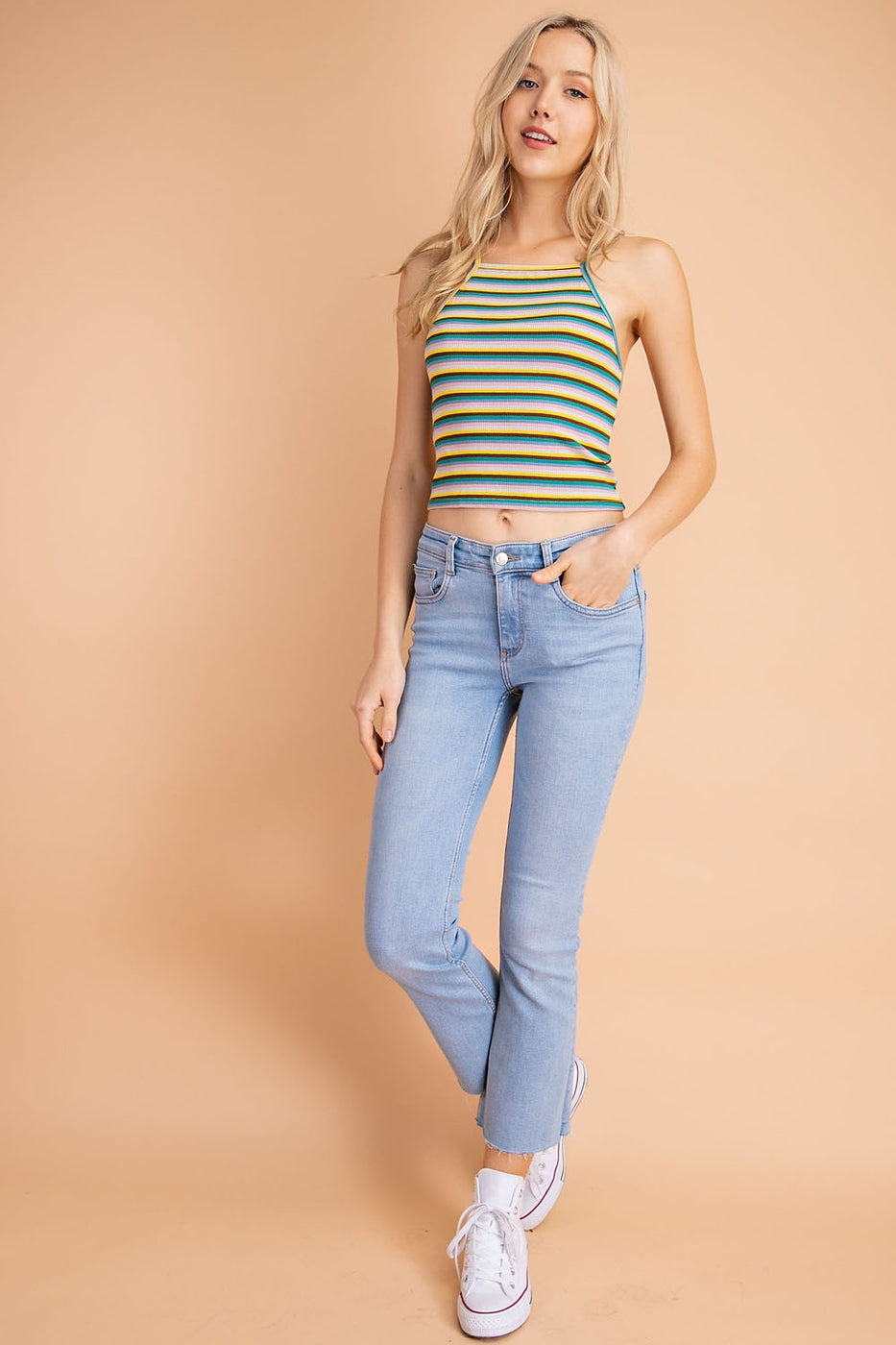 Multi Stripe Rib Knit Spaghetti Top Siin Bees