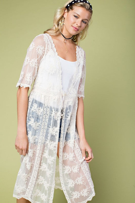 Natural Embroidered Open Sleeve Cardigan With Tie Waist Detail Siin Bees