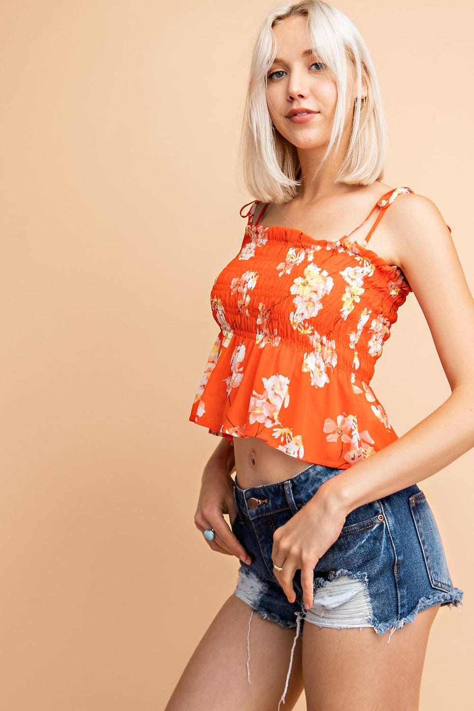 Soft Chiffon Garden Floral Prints Smocked Top Siin Bees
