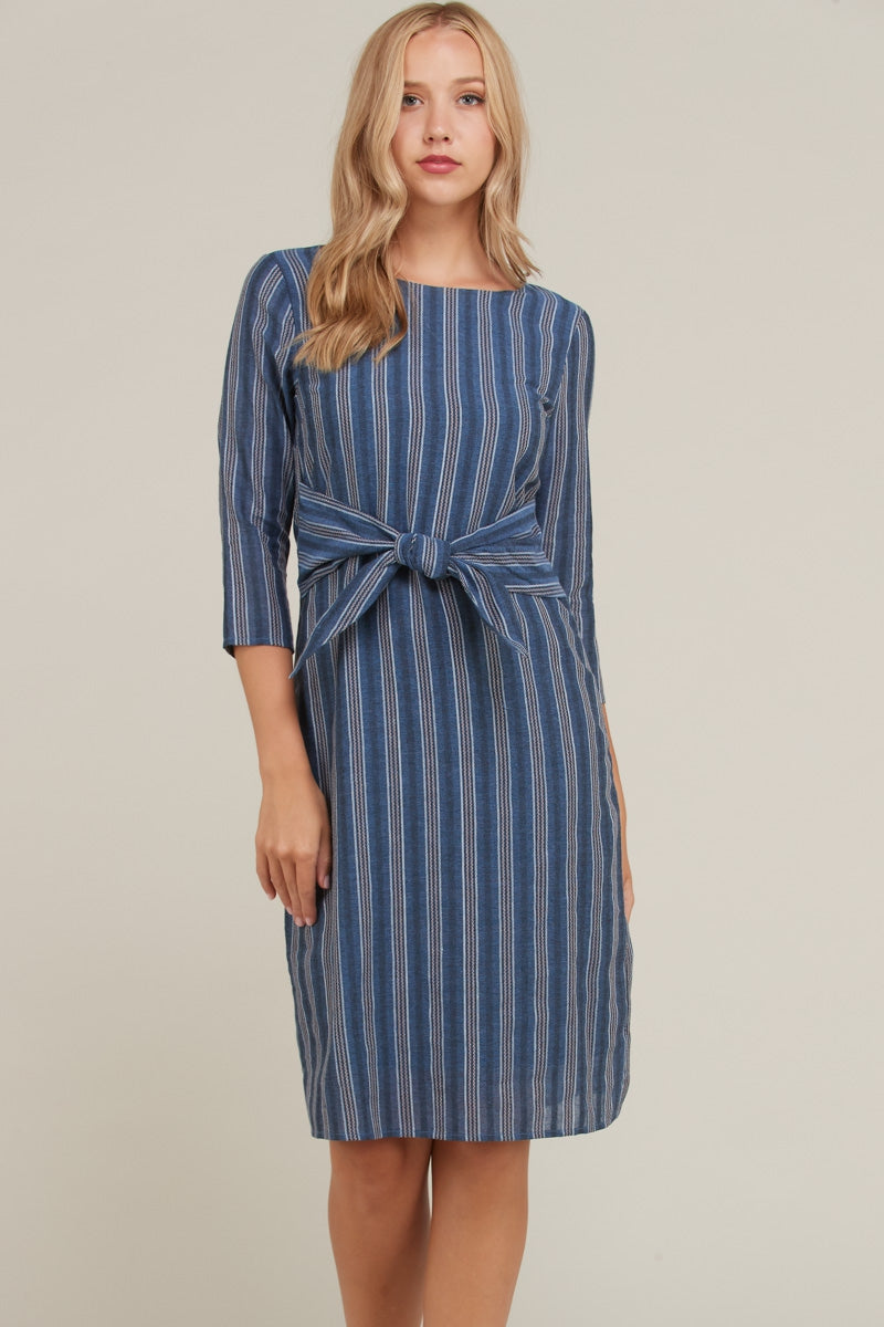 Savannah Stripe Midi Dress With Waist Tie Siin Bees
