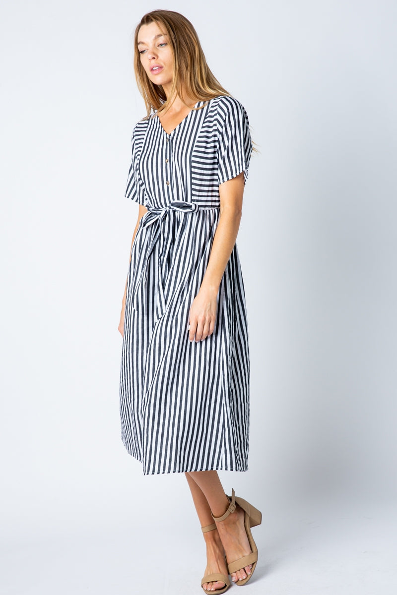 Fatima White/Black Short Sleeve Midi Dress With Front Tie Siin Bees