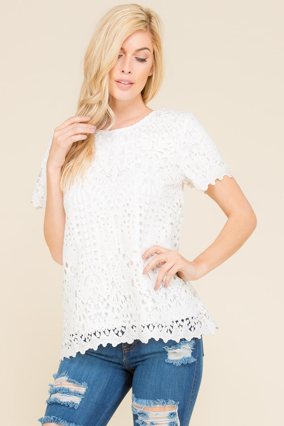 Off White Short Sleeve Crochet Lace Top Siin Bees