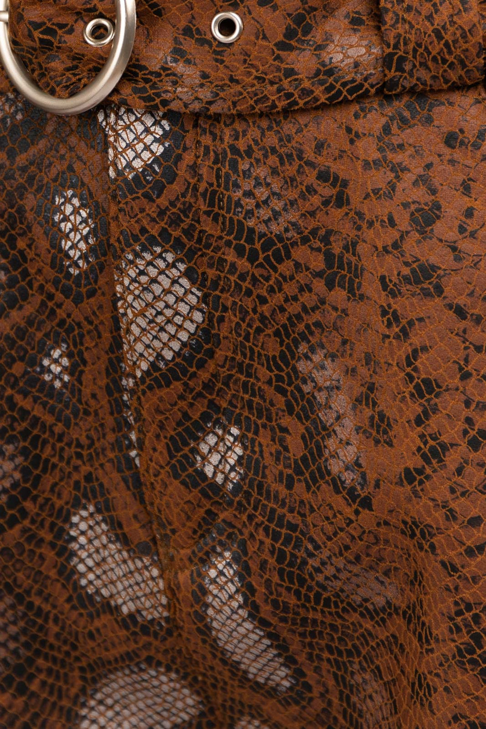 Snake Print Belted Shorts In Brown Siin Bees