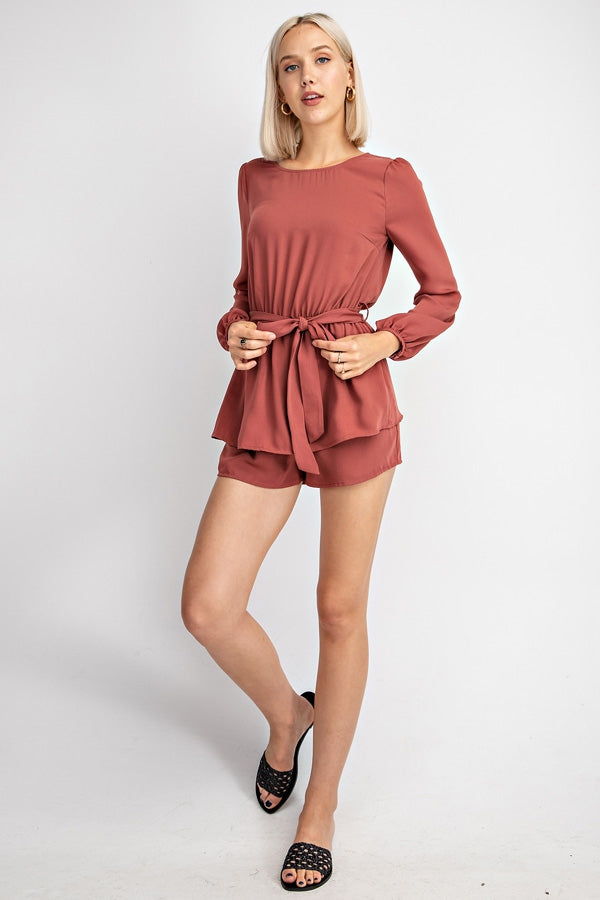 Mia Long Sleeve Romper With Front Tie Siin Bees