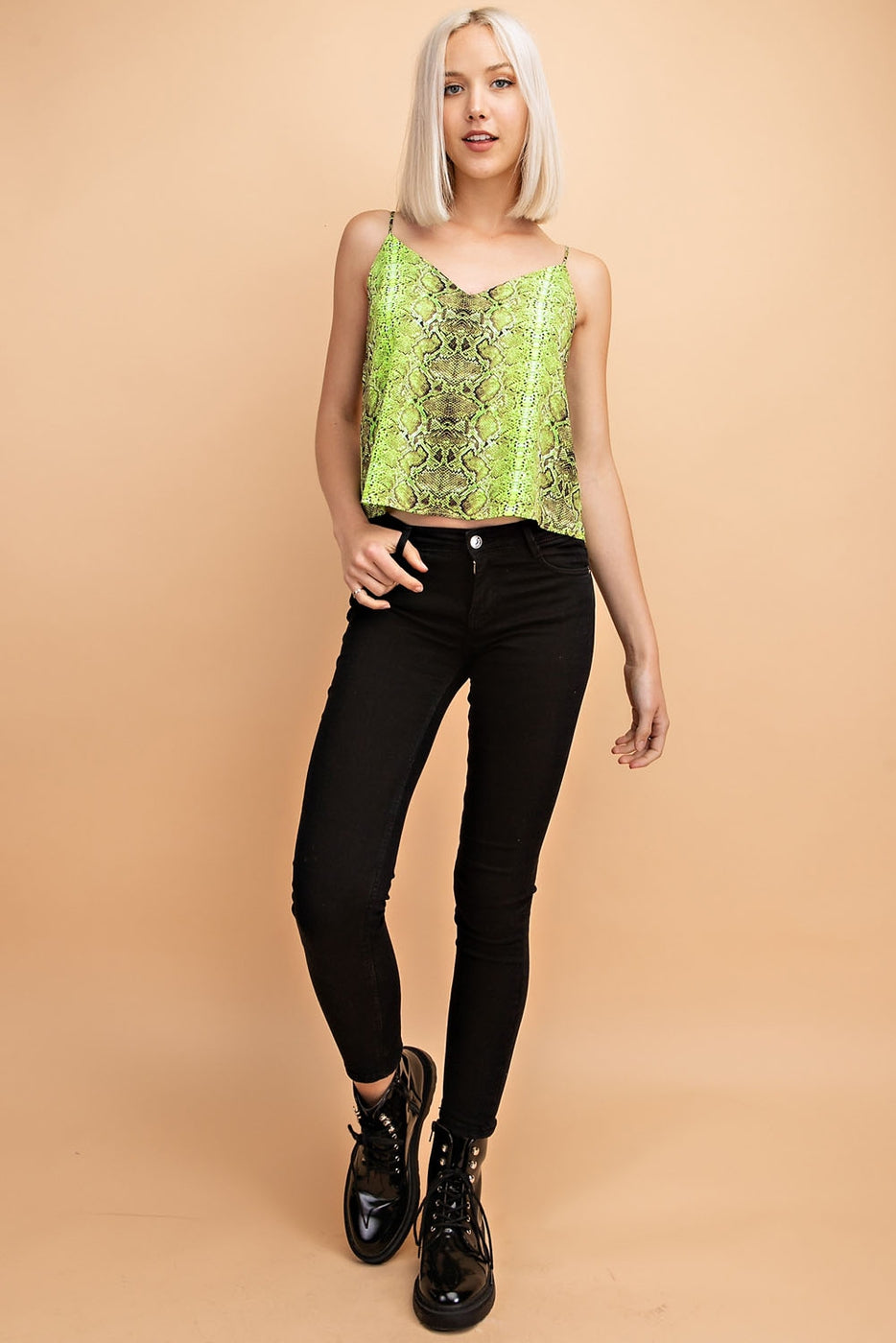Snake Print V-Neck Tank Top In Neon-Green Siin Bees