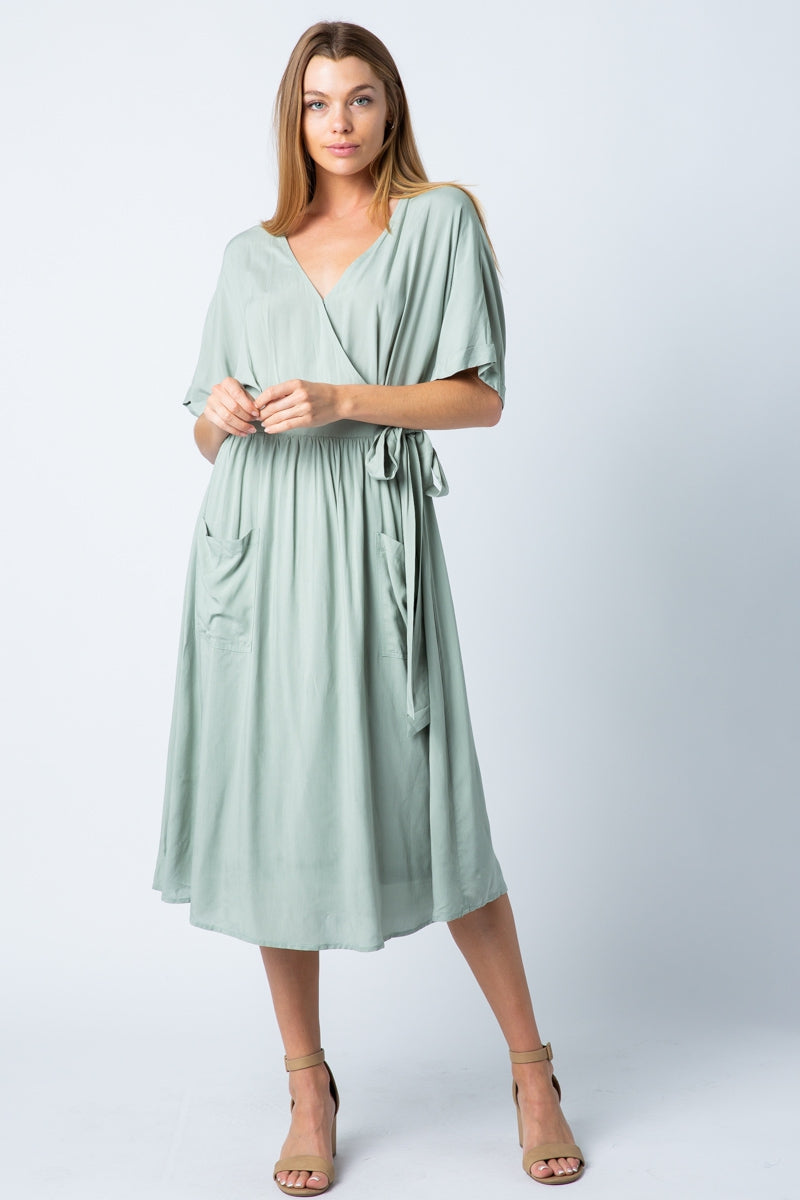 Eliza Side Wrap Dress With Wide Pocket Siin Bees
