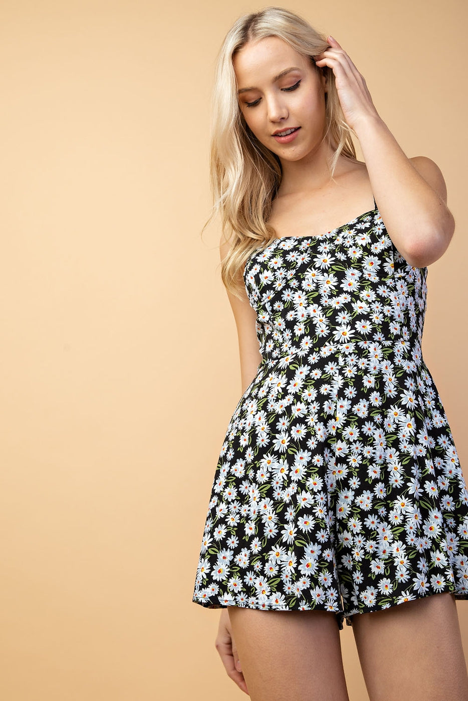 Ariel Romper With Sleeveless Floral Smock Back In Black Floral Siin Bees