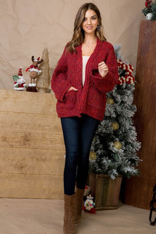 Multi Polka Dot Open Sweater Cardigan With Pocket Detail Siin Bees