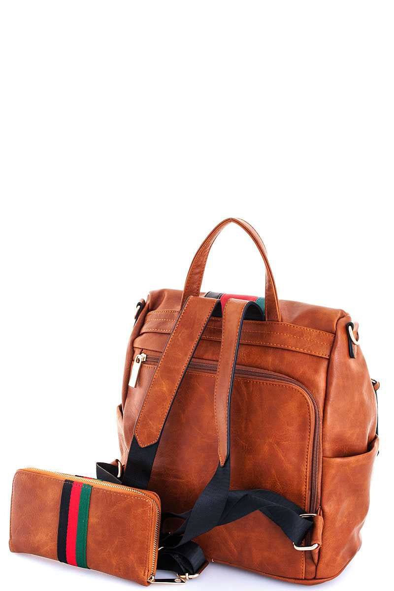 Leather Striped Backpack with Matching Wallet Siin Bees