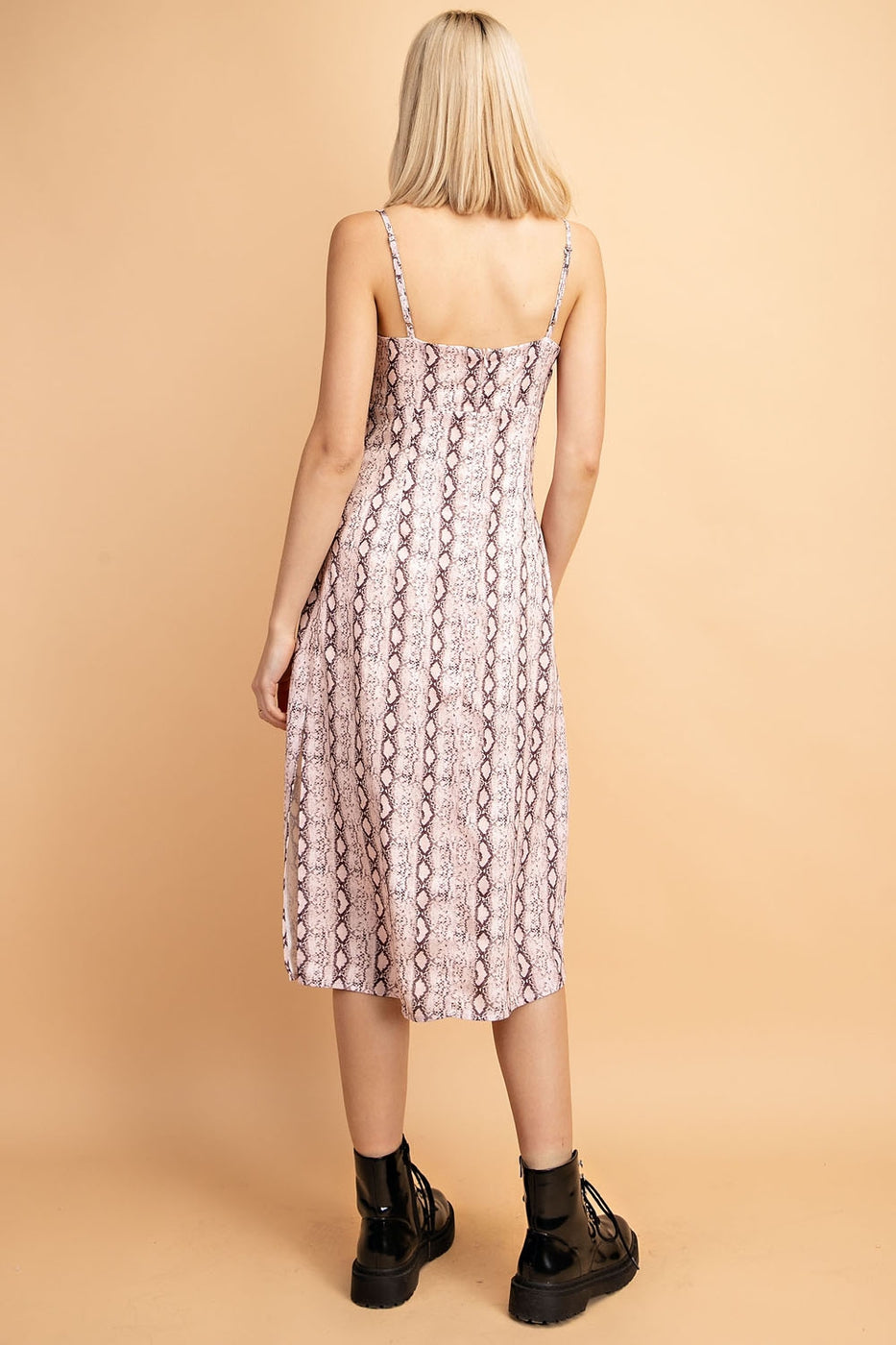 Samantha Midi Dress With Snake Skin Slit Side Cami In Blush - Siin Bees