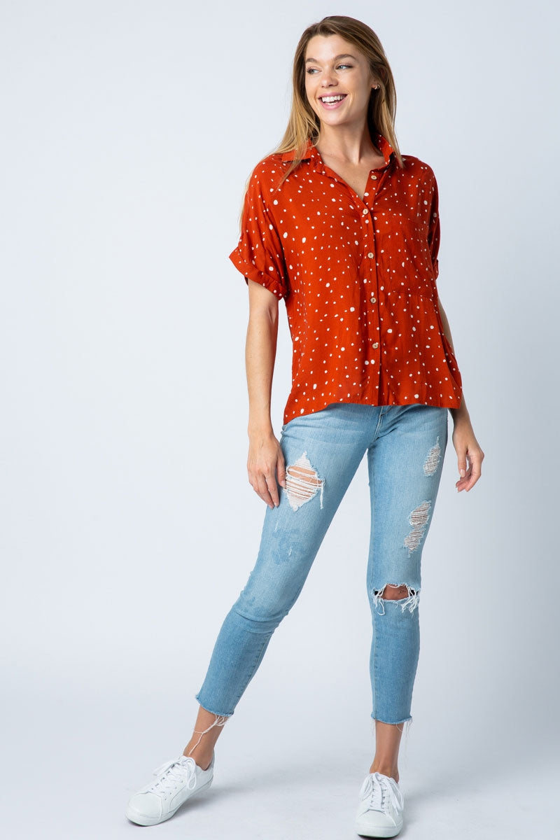Spring Short Sleeve Top With Collared Button Up - Siin Bees