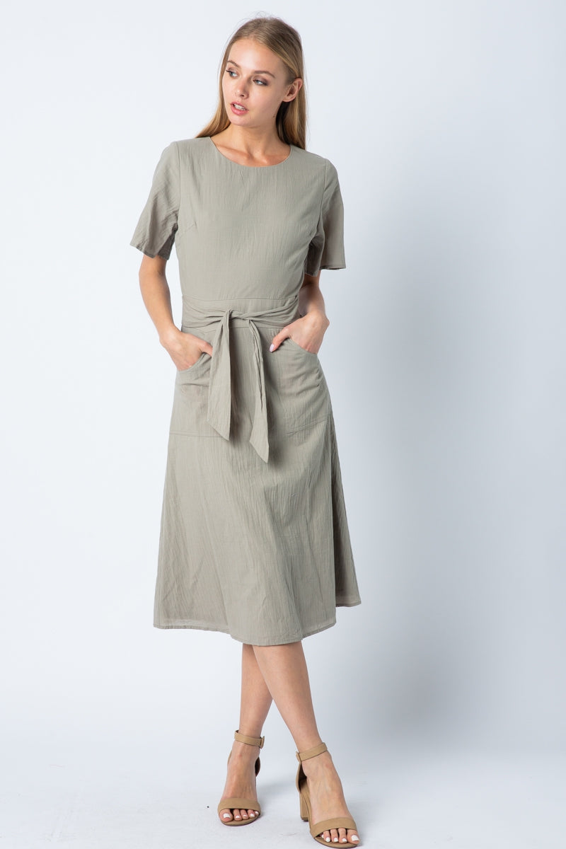 Nova Midi Dress With Front Tie In Olive Siin Bees