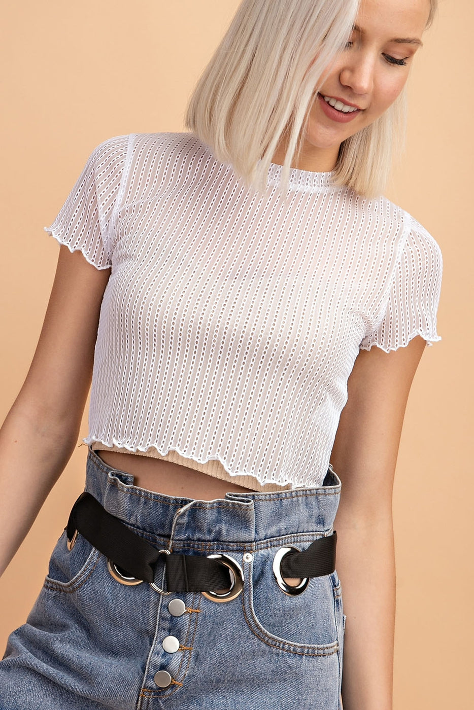 Short Sleeve Crop Top With Lettuce Hem - Siin Bees