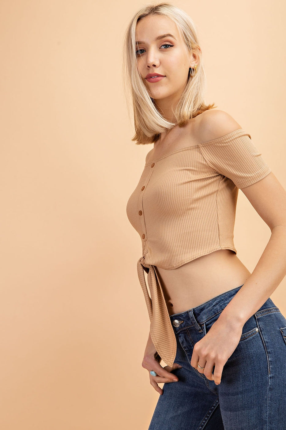 Button Down Front Tie Ribbed Crop Top Siin Bees