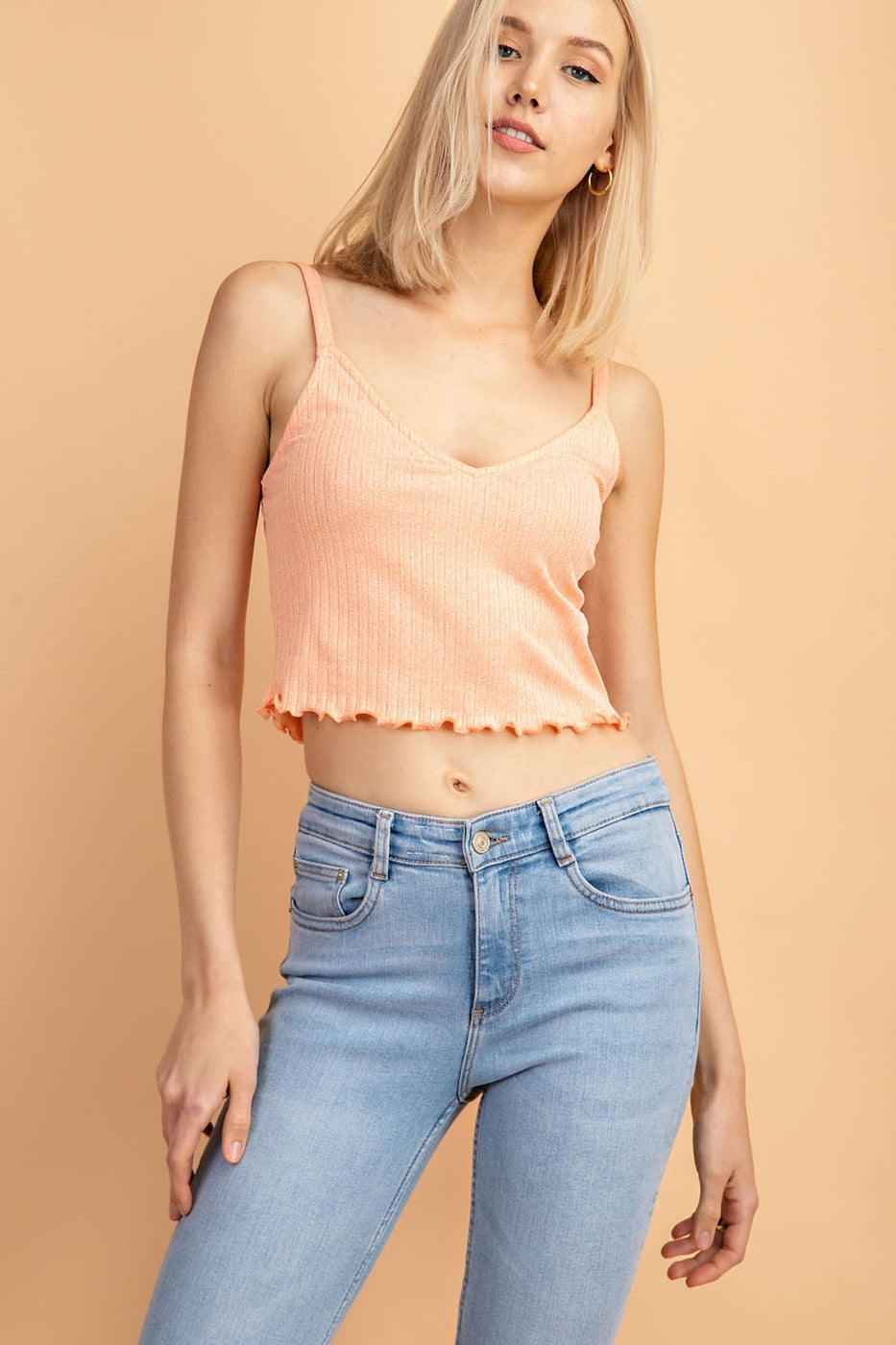 Sleeveless Crop Top With Lettuce Hem V- Neck Siin Bees