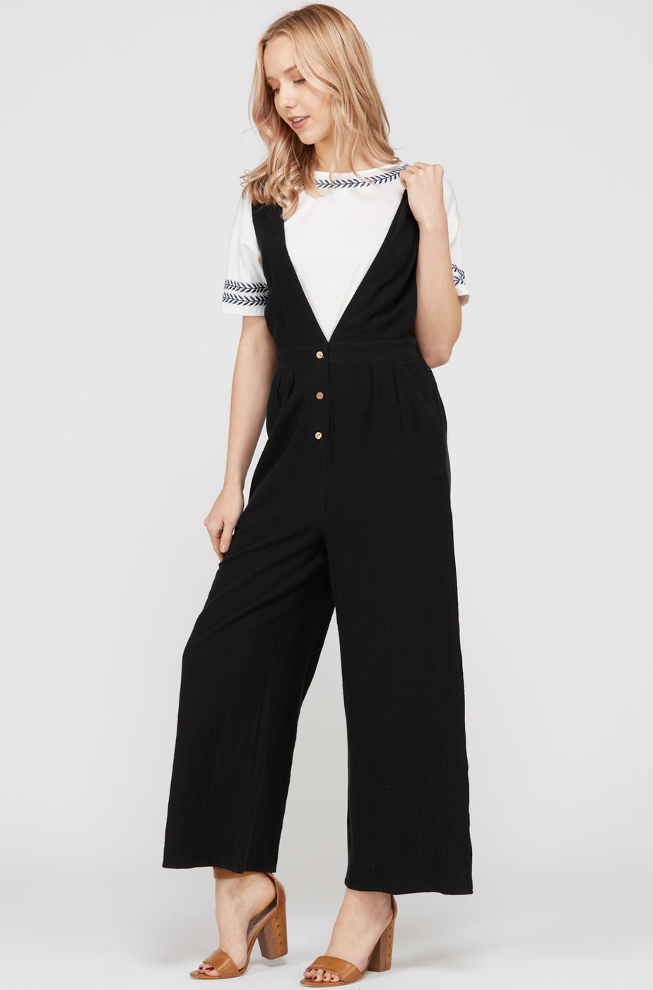 Lyric Romper With Front Button Down V-Neck In Black Siin Bees