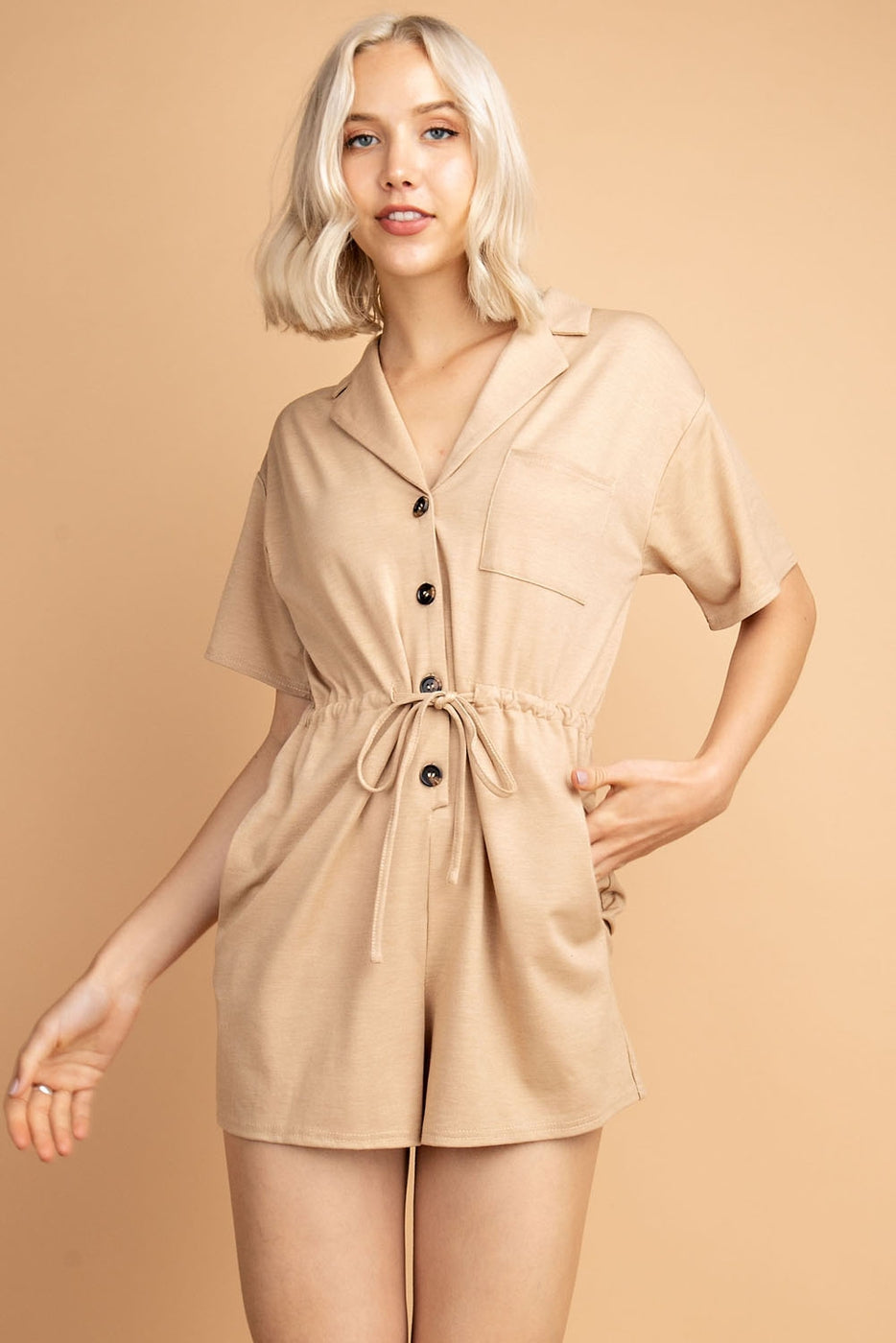 Polo Knit Romper With Front Waist Tie Detail Siin Bees