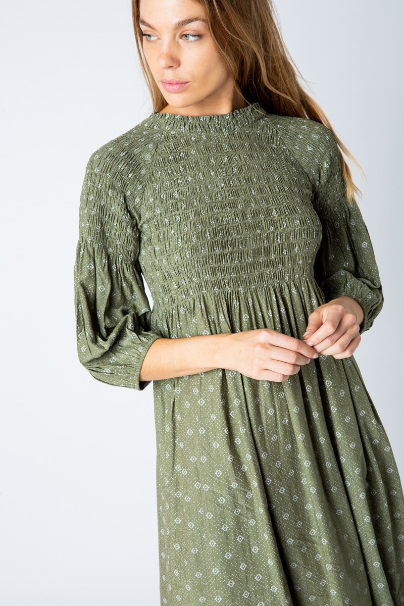 Vivian Smocking Top Midi Dress In Olive Siin Bees