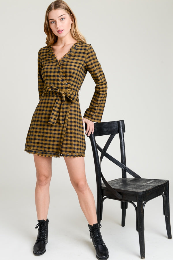 Plaid Bell Sleeve Wrap Dress Siin Bees