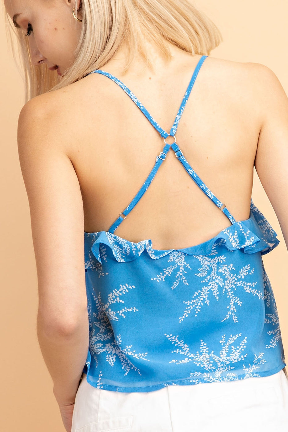 Chiffon Print Ruffled Top With Back Silver Ring Woven In Blue - Siin Bees