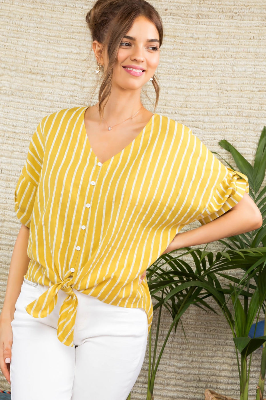 Tie Front Stripe Woven High Low Top with Button Front Siin Bees