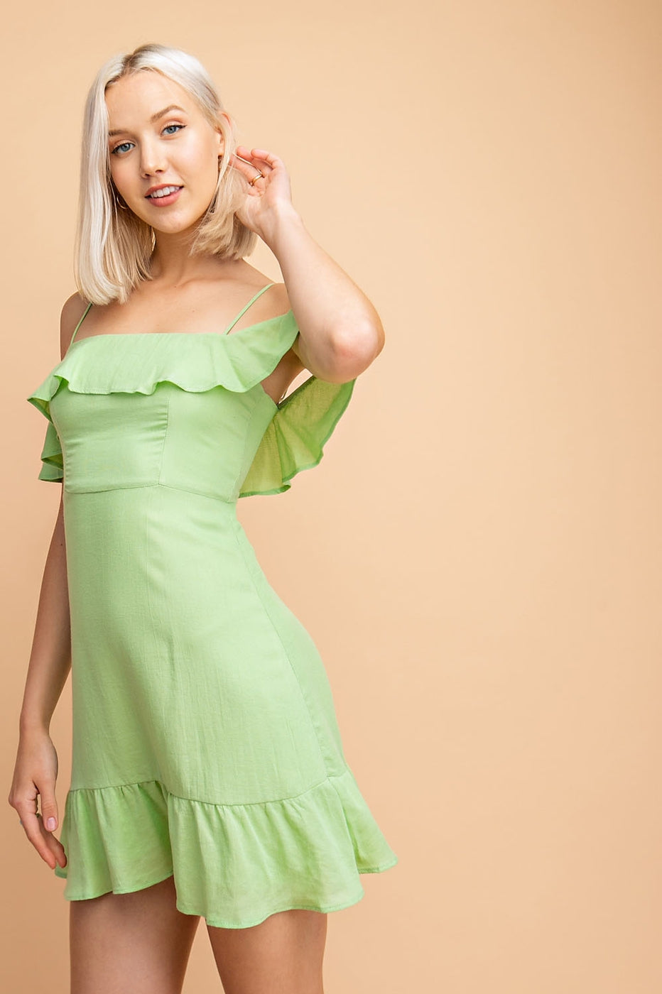 Off-Shoulder Mini Dress With Ruffle Detail - Siin Bees